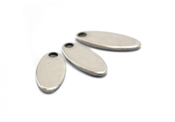 10 Breloques Sequins Forme Ovale en Acier Inoxydable - Dim. : 12,5 x 5 mm - Couleur Argent