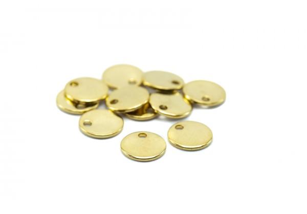 10 Breloques Acier Inoxydable Sequins Ronds - Diamètre : 8 mm - Couleur Doré