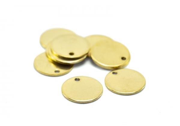10 Breloques Acier Inoxydable Sequins Ronds - Diamètre : 12 mm - Couleur Doré