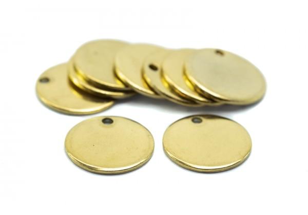 10 Breloques Acier Inoxydable Sequins Ronds - Diamètre : 15 mm - Couleur Doré