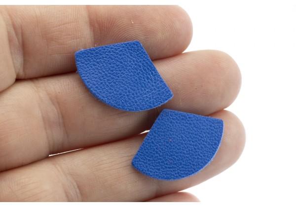 Eventails de cuir Couleur Bleu Franc - Dim. 30 x 17 mm - Lot de 6