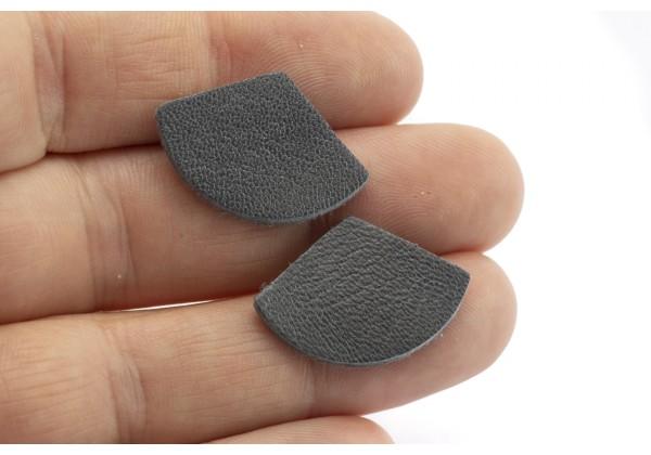 Eventails de cuir Couleur Gris Anthracite - Dim. 30 x 17 mm - Lot de 6