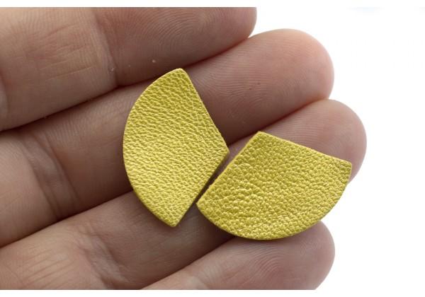 Eventails de cuir Couleur Jaune Nacré - Dim. 30 x 17 mm - Lot de 6