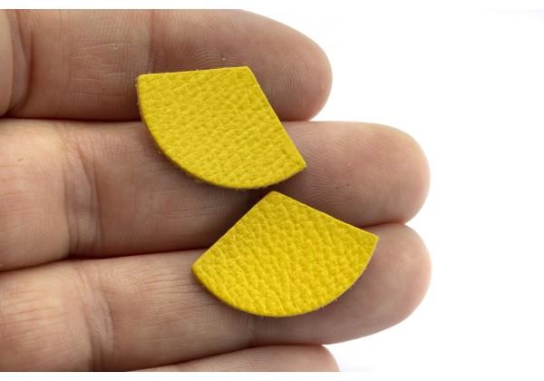 Eventails de cuir Couleur Jaune Soleil - Dim. 30 x 17 mm - Lot de 6