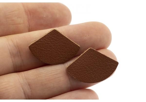 Eventails de cuir Couleur Marron - Dim. 30 x 17 mm - Lot de 6