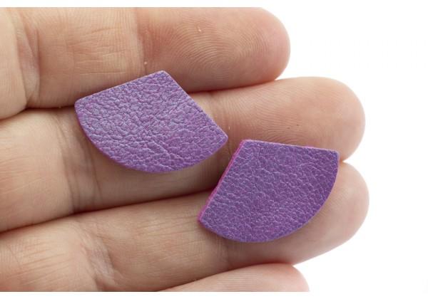 Eventails de cuir Couleur Mauve Nacré - Dim. 25 x 17 mm - Lot de 6
