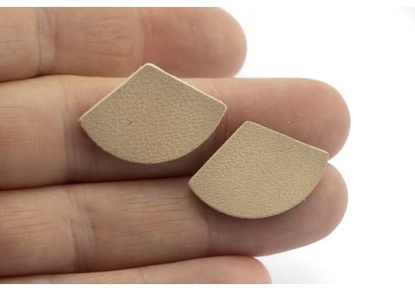 Eventails de cuir Couleur Nude - Dim. 30 x 17 mm - Lot de 6