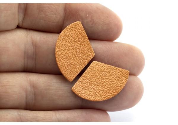 Eventails de cuir Couleur Orange Nacré - Dim. 25 x 17 mm - Lot de 6