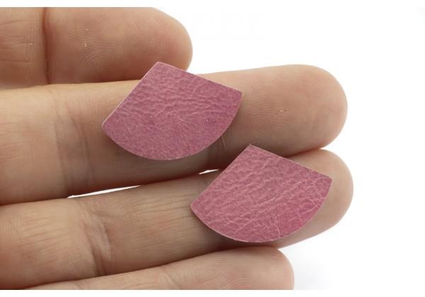 Eventails de cuir Couleur Rose Samba - Dim. 30 x 17 mm - Lot de 6