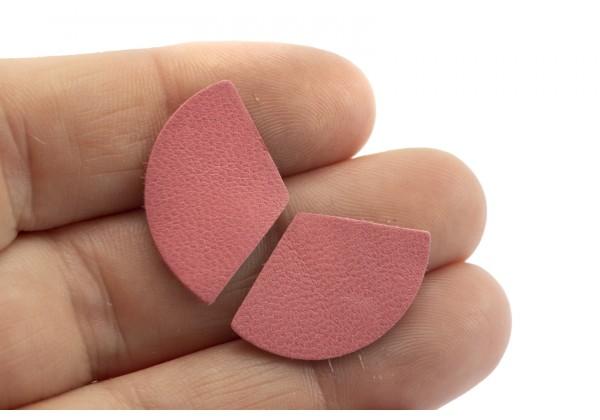 Eventails de cuir Couleur Rose Pétale - Dim. 30 x 17 mm - Lot de 6