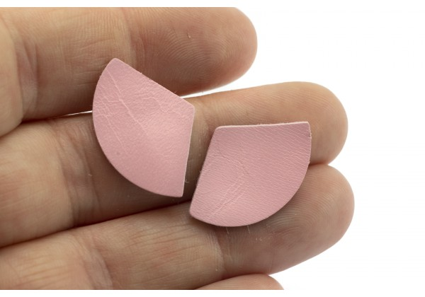 Eventails de cuir Couleur Rose Poudré - Dim. 25 x 17 mm - Lot de 6