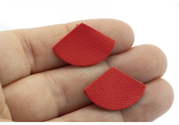 Eventails de cuir Couleur Rouge Orange - Dim. 30 x 17 mm - Lot de 6