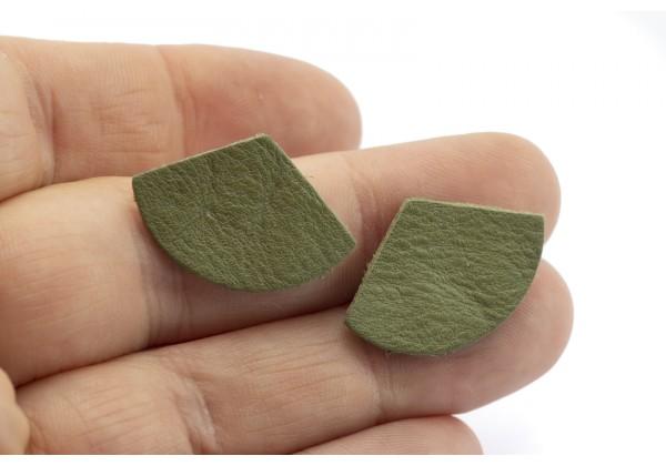 Eventails de cuir Couleur Vert Kaki - Dim. 30 x 17 mm - Lot de 6