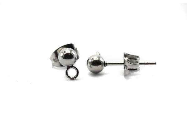 20 Supports Boucles d'oreilles Type Puce d'oreille avec anneau en Acier Inoxydable - Diam. Boule : 4 mm - Couleur Argent