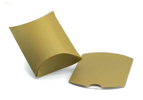 10 Pochettes cadeau Forme Berlingot Cartonnées - 7 x 7 cm - Couleur Or mat