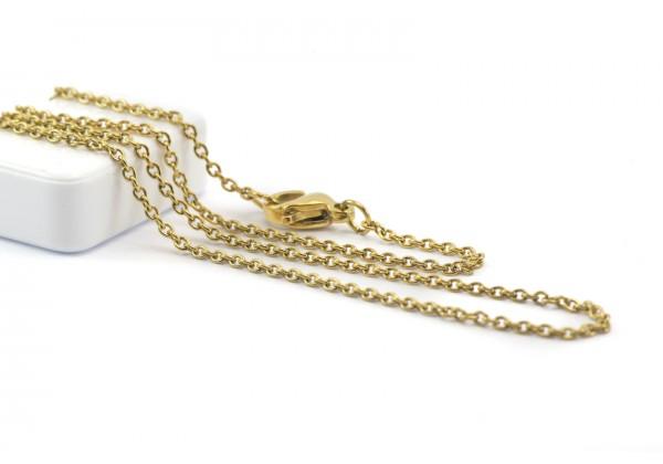 Collier Maille Forçat en Acier Inoxydable - Longueur : ± 45 cm - Maille 1,8 x 1,5 mm - Couleur Doré