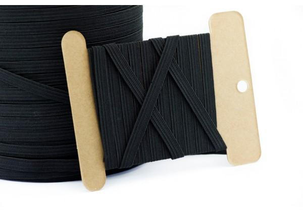 10 Mètres de Cordon Elastique Plat - Largeur : 6 mm - Couleur Noir