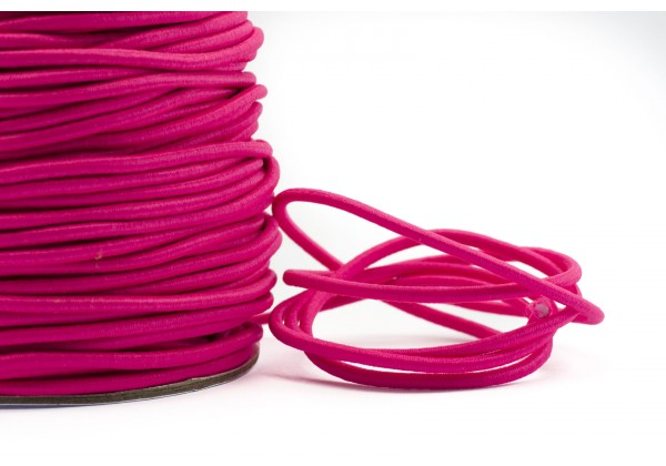 5 Mètres de Fil Cordon Elastique Rond - Diamètre 2 mm - Couleur Rose Fluo