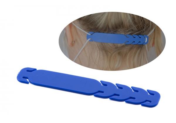 Barrette de Réglage à fixer sur les élastiques des masques de protection - Dim. : 10,7 x 1,7 cm - Couleur Bleu