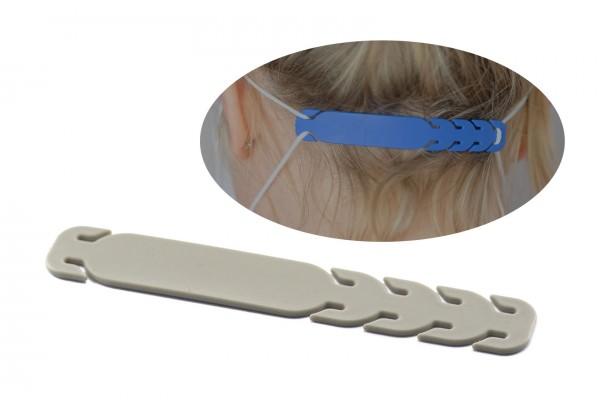 Barrette de Réglage à fixer sur les élastiques des masques de protection - Dim. : 10,7 x 1,7 cm - Couleur Gris