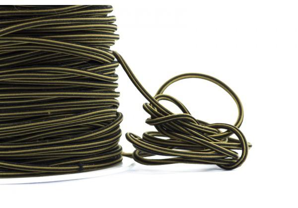 5 Mètres de Fil Cordon Elastique Rond - Diamètre 2 mm - Bicolore Noir et Moutarde