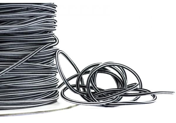 5 Mètres de Fil Cordon Elastique Rond - Diamètre 2 mm - Bicolore Noir et Blanc