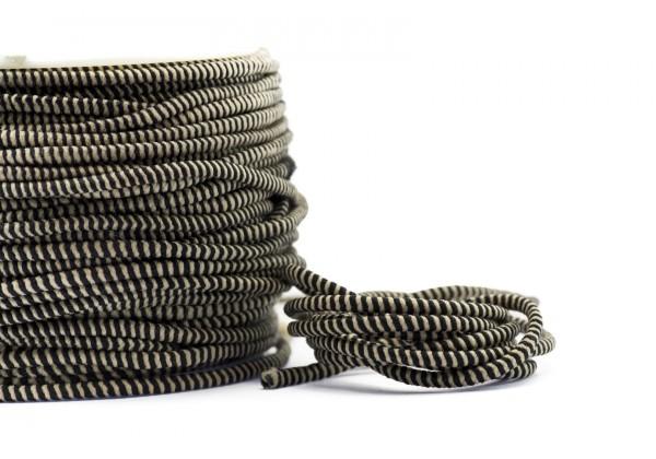 5 Mètres de Fil Cordon Elastique Rond - Diamètre 2,5 mm - Bicolore Beige et Noir