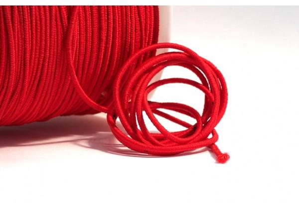 5 Mètres de Fil Cordon Elastique Rond - Diamètre 2 mm - Couleur Rouge
