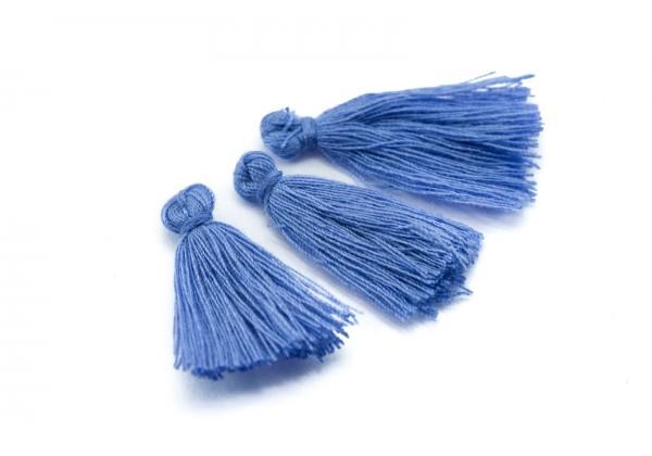 15 Pompons Glands Pampilles Colorés en Coton - Long. ± 25-30 mm - Couleur Bleu Azur