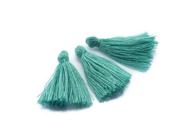 15 Pompons Glands Pampilles Colorés en Coton - Long. ± 25-30 mm - Couleur Vert Emeraude