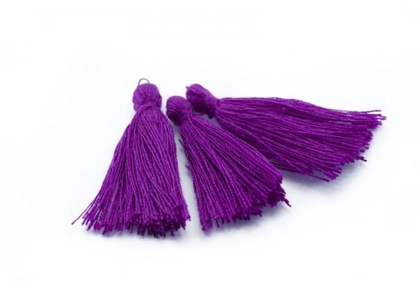 15 Pompons Glands Pampilles Colorés en Coton - Long. ± 25-30 mm - Couleur Violine