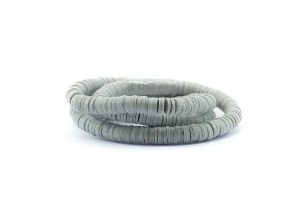 1 Fil de ± 40 cm de perles Heishi en pâte polymère 6 mm - Fil de ± 400 perles - Couleur Gris Perle