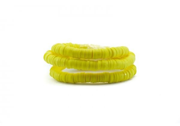 1 Fil de ± 40 cm de perles Heishi en pâte polymère 6 mm - Fil de ± 400 perles - Couleur Jaune Vif