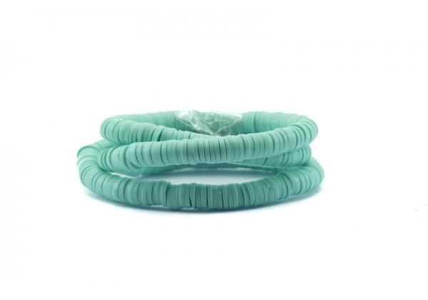 1 Fil de ± 40 cm de perles Heishi en pâte polymère 6 mm - Fil de ± 400 perles - Couleur Aqua