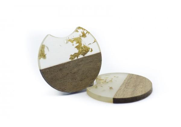 2 Breloques Bois et Résine de forme Ronde - Diam. : 33 mm / Ep. : 3 mm - Bois et Translucide avec incrustations Or