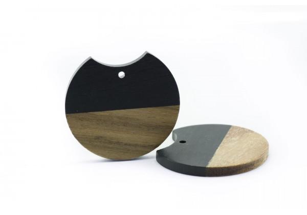 2 Breloques Bois et Résine de forme Ronde - Diam. : 33 mm / Ep. : 3 mm - Bi-colore : Bois et Noir Opaque
