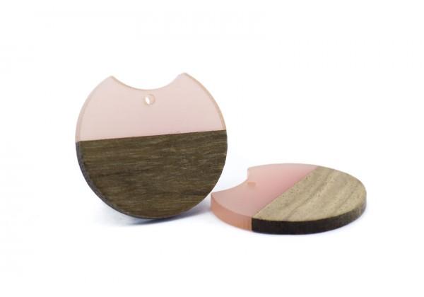 2 Breloques Bois et Résine de forme Ronde - Diam. : 33 mm / Ep. : 3 mm - Bi-colore : Bois et Rose Translucide