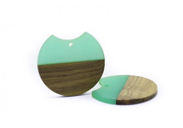 2 Breloques Bois et Résine de forme Ronde - Diam. : 33 mm / Ep. : 3 mm - Bi-colore : Bois et Turquoise