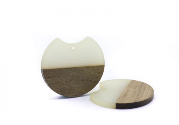 2 Breloques Bois et Résine de forme Ronde - Diam. : 33 mm / Ep. : 3 mm - Bi-colore : Bois et Blanc cassé Translucide