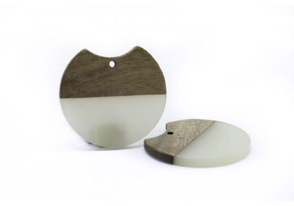 2 Breloques Bois et Résine de forme Ronde - Diam. : 33 mm / Ep. : 3 mm - Bi-colore : Bois et Blanc Grisé Translucide