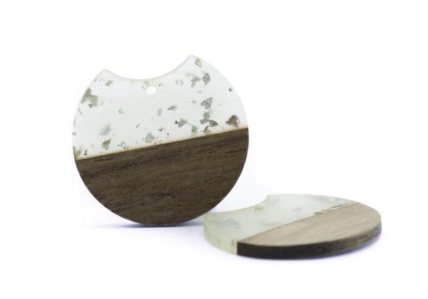 2 Breloques Bois et Résine de forme Ronde - Diam. : 33 mm / Ep. : 3 mm - Bois et Translucide avec incrustations Argent