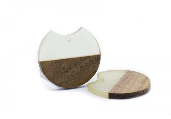2 Breloques Bois et Résine de forme Ronde - Diam. : 33 mm / Ep. : 3 mm - Bi-colore : Bois et Translucide