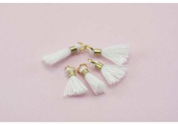 10 Mini Pompons en Polycoton - Dim. : 13 x 2 mm - Couleur Blanc
