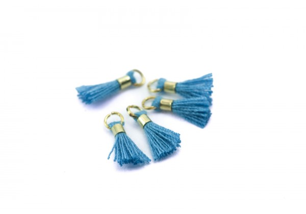 10 Mini Pompons en Polycoton - Dim. : 13 x 2 mm - Couleur Bleu