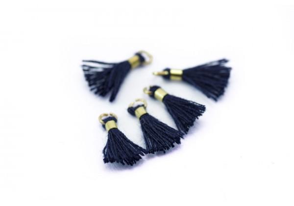 10 Mini Pompons en Polycoton - Dim. : 13 x 2 mm - Couleur Bleu Nuit