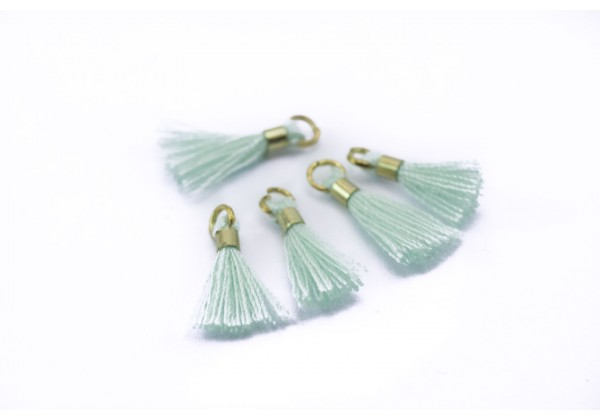 10 Mini Pompons en Polycoton - Dim. : 13 x 2 mm - Couleur Mint