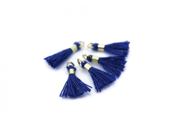10 Mini Pompons en Polycoton - Dim. : 13 x 2 mm - Couleur Bleu Marine