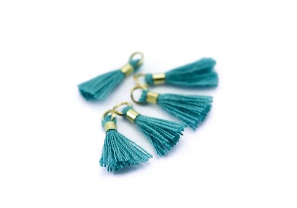 10 Mini Pompons en Polycoton - Dim. : 13 x 2 mm - Couleur Turquoise Foncé