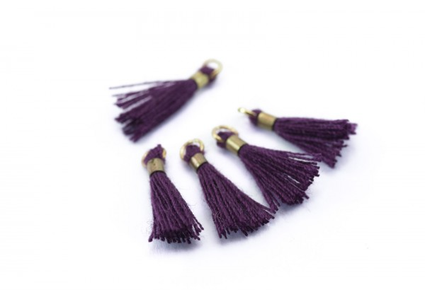 10 Mini Pompons en Polycoton - Dim. : 13 x 2 mm - Couleur Violet