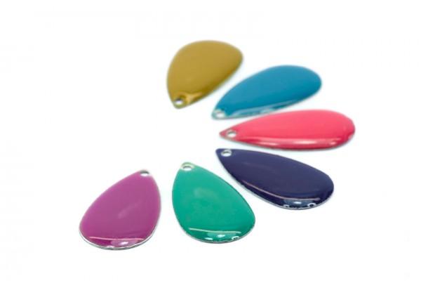 12 Sequins Gouttes émaillées - 21 x 11 mm - Lot Multicolore : Vert, Camel, Rose, Violine, Turquoise, Bleu
